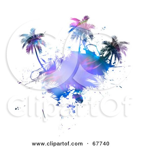 Royalty-Free (RF) Clipart Illustration of a Fractal Palm Tree Island On White by Arena Creative
