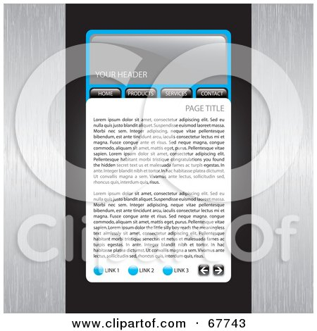 Royalty-Free (RF) Clipart Illustration of a Website Template With Blue Accents And Brushed Metal Sides by Arena Creative