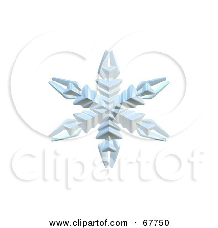 Royalty-Free (RF) Clipart Illustration of a 3d Ice Blue Snowflake On White by Arena Creative