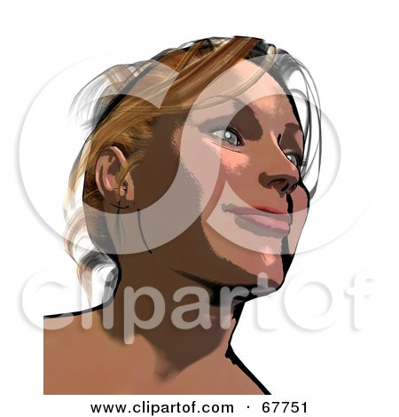Royalty-Free (RF) Clipart Illustration of a Happy Woman Smiling And Looking Up by Arena Creative