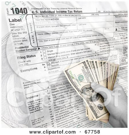 Royalty-Free (RF) Clipart Illustration of a Hand Holding Cash Over A 1040 Tax Form by Arena Creative
