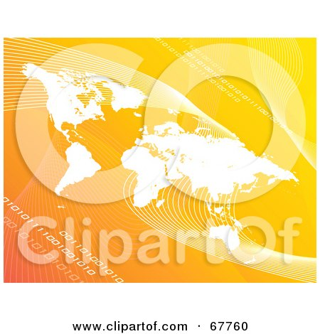 Royalty-Free (RF) Clipart Illustration of a Gradient Orange Background With White Waves, Binary And A Map by Arena Creative
