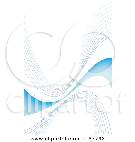 Royalty-Free (RF) Clipart Illustration of Gray Lines And A Blue Swoosh On White by Arena Creative