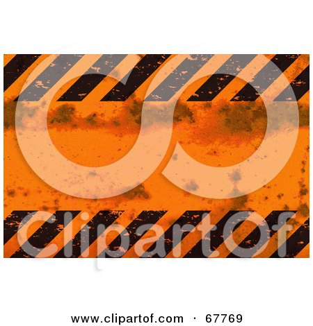 Royalty-Free (RF) Clipart Illustration of a Grungy Orange And Black Hazard Stripe Background by Arena Creative