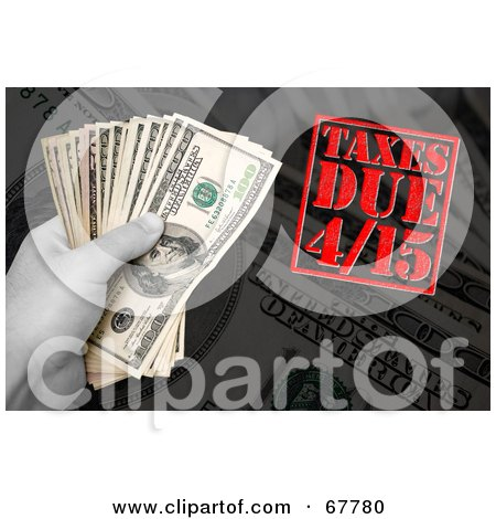 Royalty-Free (RF) Clipart Illustration of a Hand Holding Money Over Cash And