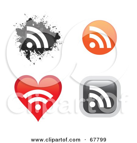 Royalty-Free (RF) Clipart Illustration of a Digital Collage Of Rss Icon Buttons In Different Shapes by Arena Creative