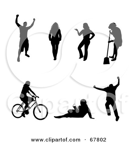 Royalty-Free (RF) Clipart Illustration of a Digital Collage Of Black Victorious, Walking, Posing, Sweeping, Cycling, Reading And Jumping People Silhouettes by Arena Creative