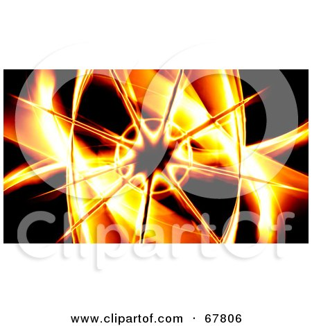 Royalty-Free (RF) Clipart Illustration of a Fiery Starburst And Swooshes On Black by Arena Creative