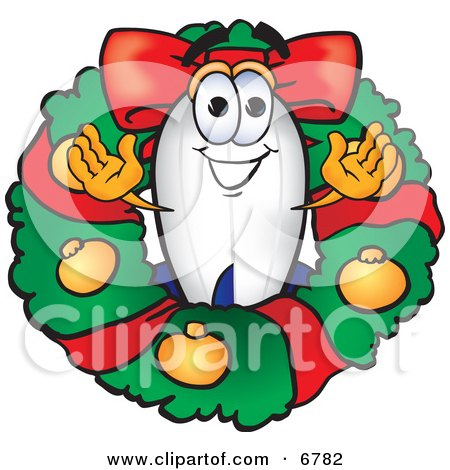 Clipart Picture of a Blimp Mascot Cartoon Character in the Center of a Christmas Wreath by Toons4Biz