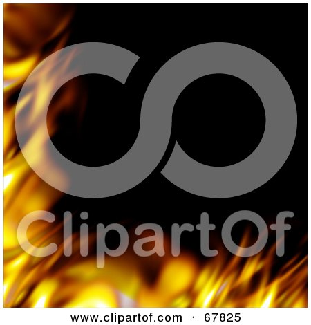 Royalty-Free (RF) Clipart Illustration of a Smooth Fiery Corner Border On Black by Arena Creative