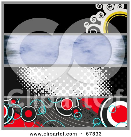 Royalty-Free (RF) Clipart Illustration of a Digital Collage Of Circle, Grunge And Halftone Website Banners by Arena Creative