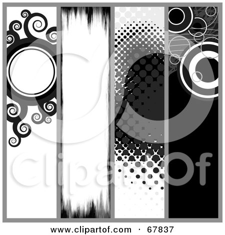 Royalty-Free (RF) Clipart Illustration of a Digital Collage Of Black And White Grunge Website Banners by Arena Creative