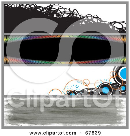 Royalty-Free (RF) Clipart Illustration of a Digital Collage Of Scribble, Rainbow, Circle And Grunge Website Banners by Arena Creative