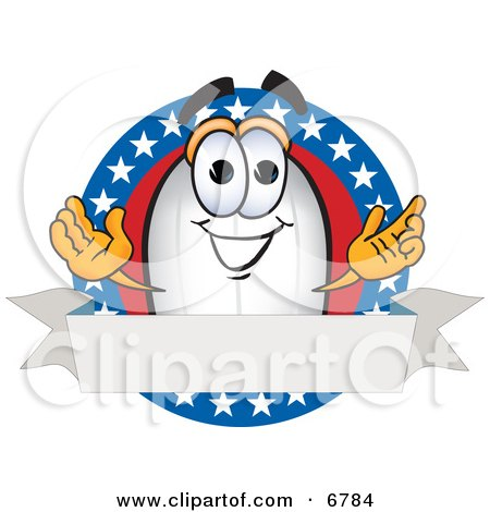 Clipart Picture of a Blimp Mascot Cartoon Character Logo With Stars and a Blank Ribbon by Toons4Biz