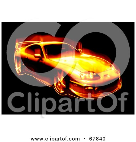 Royalty-Free (RF) Clipart Illustration of a Fiery Sports Car On Black by Arena Creative