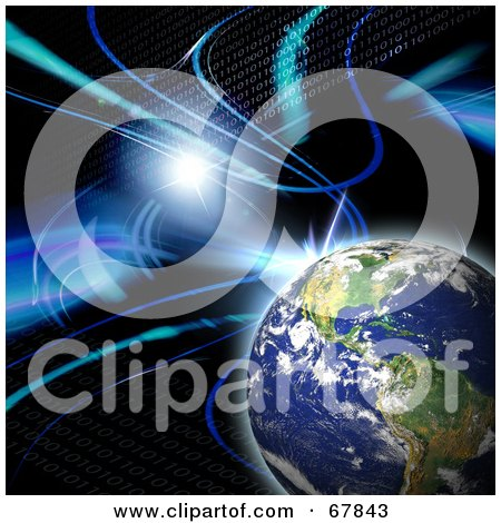 Royalty-Free (RF) Clipart Illustration of a Flare With Binary And Planet Earth On Black by Arena Creative