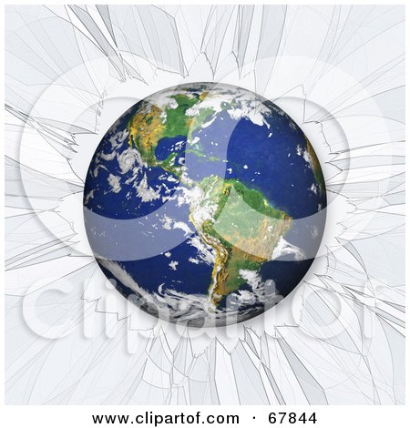 Royalty-Free (RF) Clipart Illustration of Earth Crashing Through Clear Glass by Arena Creative