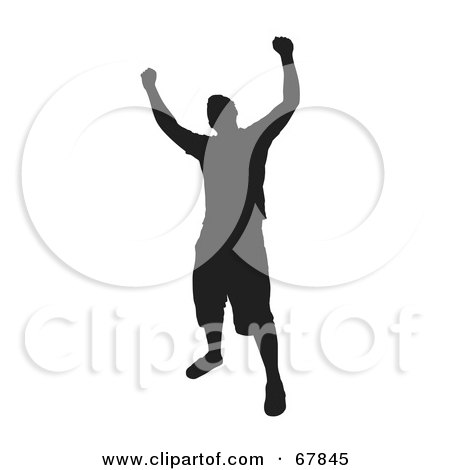 Royalty-Free (RF) Clipart Illustration of a Black Silhouette Victorious Man On White by Arena Creative