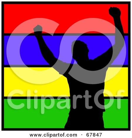 Royalty-Free (RF) Clipart Illustration of a Silhouetted Happy Man Over Lines Of Color by Arena Creative