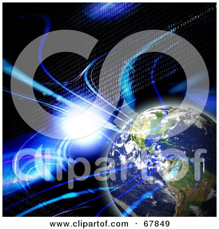 Royalty-Free (RF) Clipart Illustration of a Binary Earth With A Flare And Fractals On Black by Arena Creative