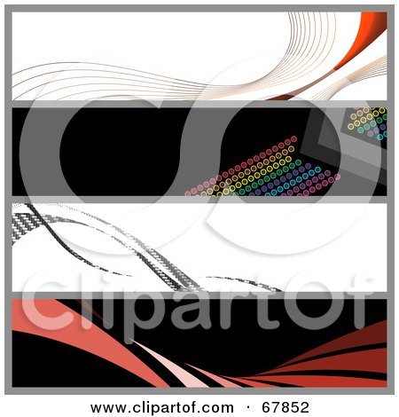 Royalty-Free (RF) Clipart Illustration of a Digital Collage Of Swooshes And Dot Website Banners by Arena Creative