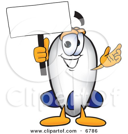 Clipart Picture of a Blimp Mascot Cartoon Character Holding a Blank White Sign by Toons4Biz