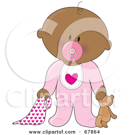 Royalty-Free (RF) Clipart Illustration of an Innocent Black Baby Girl With A Teddy Bear, Pacifier And Blanket by Maria Bell