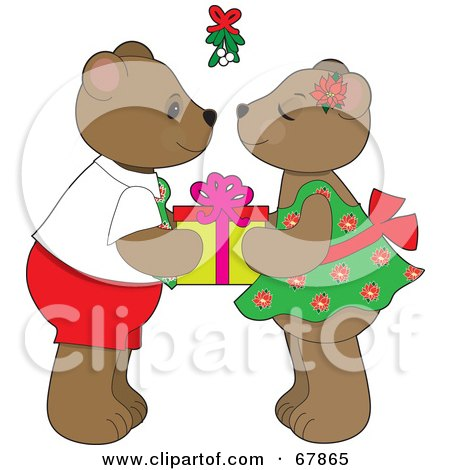 Royalty-Free (RF) Clipart Illustration of a Cute Bear Couple Holding A Gift And Preparing To Smooch Under Mistletoe by Maria Bell
