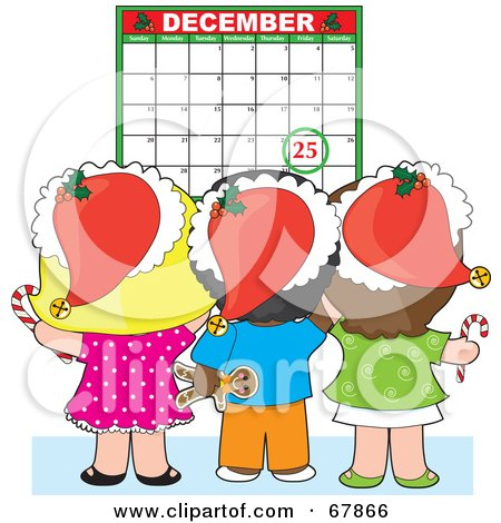 Royalty-Free (RF) Clipart Illustration of a Group Of Christmas Children Wearing Santa Hats And Looking At A December Calendar by Maria Bell