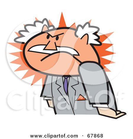 Royalty-Free (RF) Clipart Illustration of a Furious Bald Old Walt Businessman by Andy Nortnik