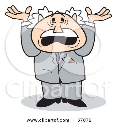 Royalty-Free (RF) Clipart Illustration of a Bald Old Walt Man In A Suit, Yelling And Holding Up His Arms by Andy Nortnik