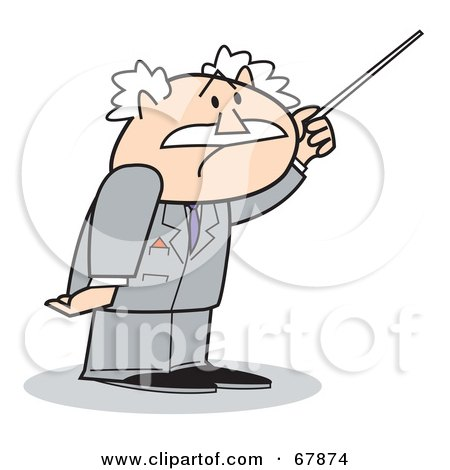 Royalty-Free (RF) Clipart Illustration of a Bald Old Walt Businessman Using a Pointer by Andy Nortnik