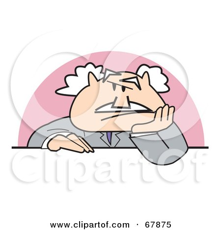 Royalty-Free (RF) Clipart Illustration of a Bald Old Grouchy Walt Businessman Sitting At A Desk by Andy Nortnik