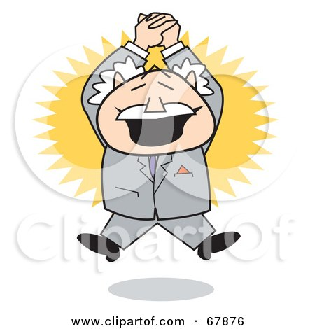 Royalty-Free (RF) Clipart Illustration of an Excited Bald Old Walt Businessman Clapping And Jumping by Andy Nortnik