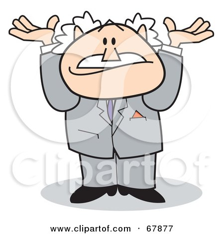 Royalty-Free (RF) Clipart Illustration of a Bald Old Walt Man In A Suit, Shrugging by Andy Nortnik