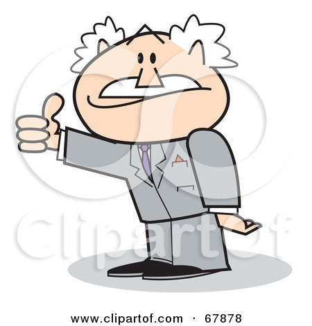 Royalty-Free (RF) Clipart Illustration of a Bald Old Walt Businessman Giving The Thumbs Up by Andy Nortnik