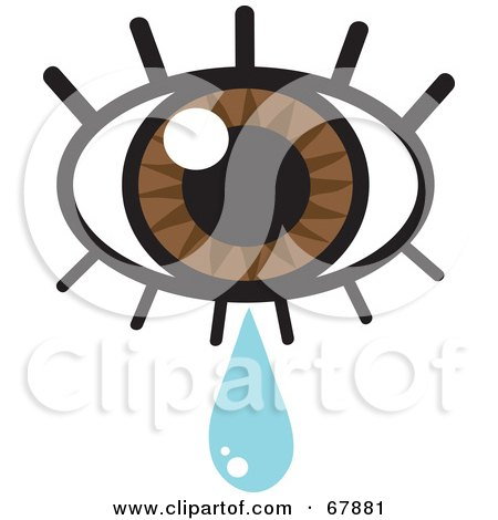 Royalty-free clipart picture of a brown eye with lashes and a tear drop,