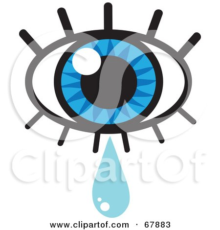 Royalty-free clipart picture of a blue eye with lashes and a tear drop,