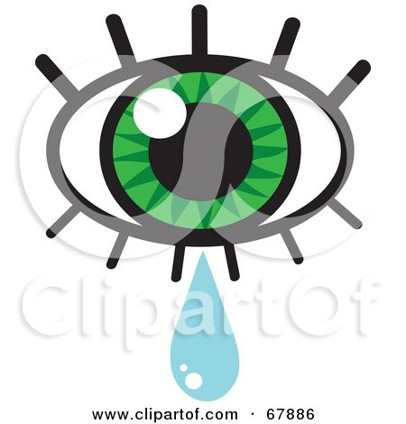 Royalty-free clipart picture of a green eye with lashes and a tear drop,