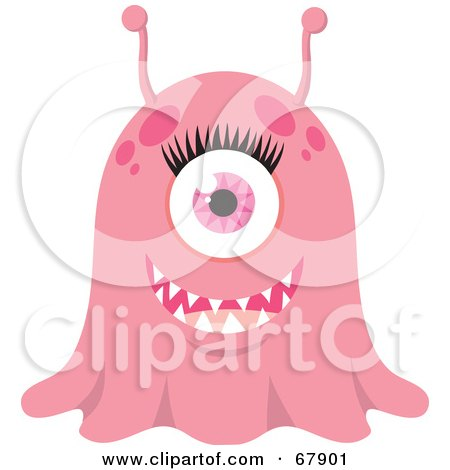 Royalty-Free (RF) Clipart Illustration of a Wide Eyed Pink Blob Monster by Rosie Piter