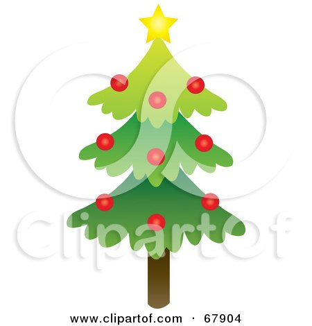 Royalty-Free (RF) Clipart Illustration of a Single Evergreen Christmas Tree With A Star And Red Ornaments by Rosie Piter
