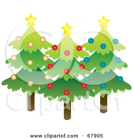 Royalty-Free (RF) Clipart Illustration of Three Evergreen Christmas Trees With Stars And Ornaments by Rosie Piter