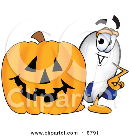 Clipart Picture of a Blimp Mascot Cartoon Character With a Carved Halloween Pumpkin by Toons4Biz