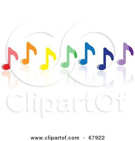 Royalty-Free (RF) Clipart Illustration of a Row Of Colorful Music Notes With A Reflection by Rosie Piter