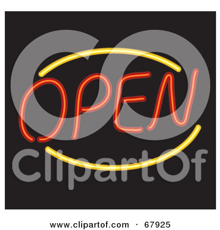 Royalty-Free (RF) Clipart Illustration of a Neon Red And Yellow Open Sign On Black by Rosie Piter