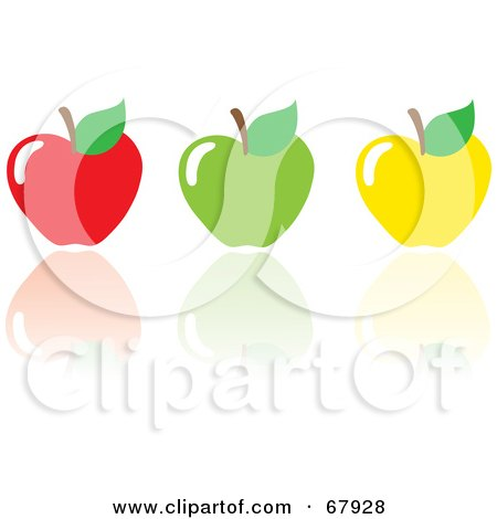 Royalty-Free (RF) Clipart Illustration of Red, Green And Yellow Apples With Reflections by Rosie Piter