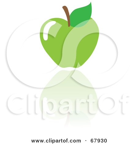 Royalty-Free (RF) Clipart Illustration of a Green Apple With a Reflection by Rosie Piter