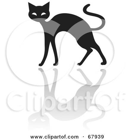 Royalty-Free (RF) Clipart Illustration of a Black Cat With a Reflection by Rosie Piter