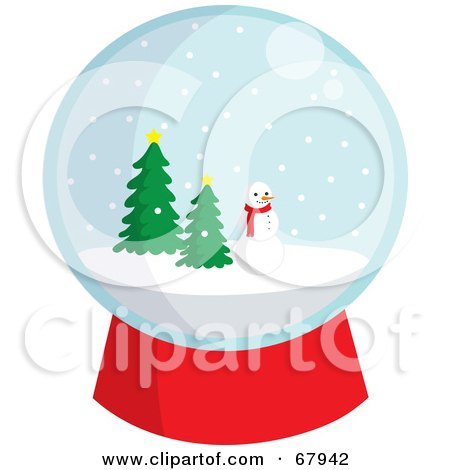 Royalty-Free (RF) Clipart Illustration of a Snowglobe With A Snowman And Evergreens by Rosie Piter
