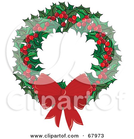 Royalty-Free (RF) Clipart Illustration of a Holly Christmas Wreath With Berries And A Bow by Pams Clipart